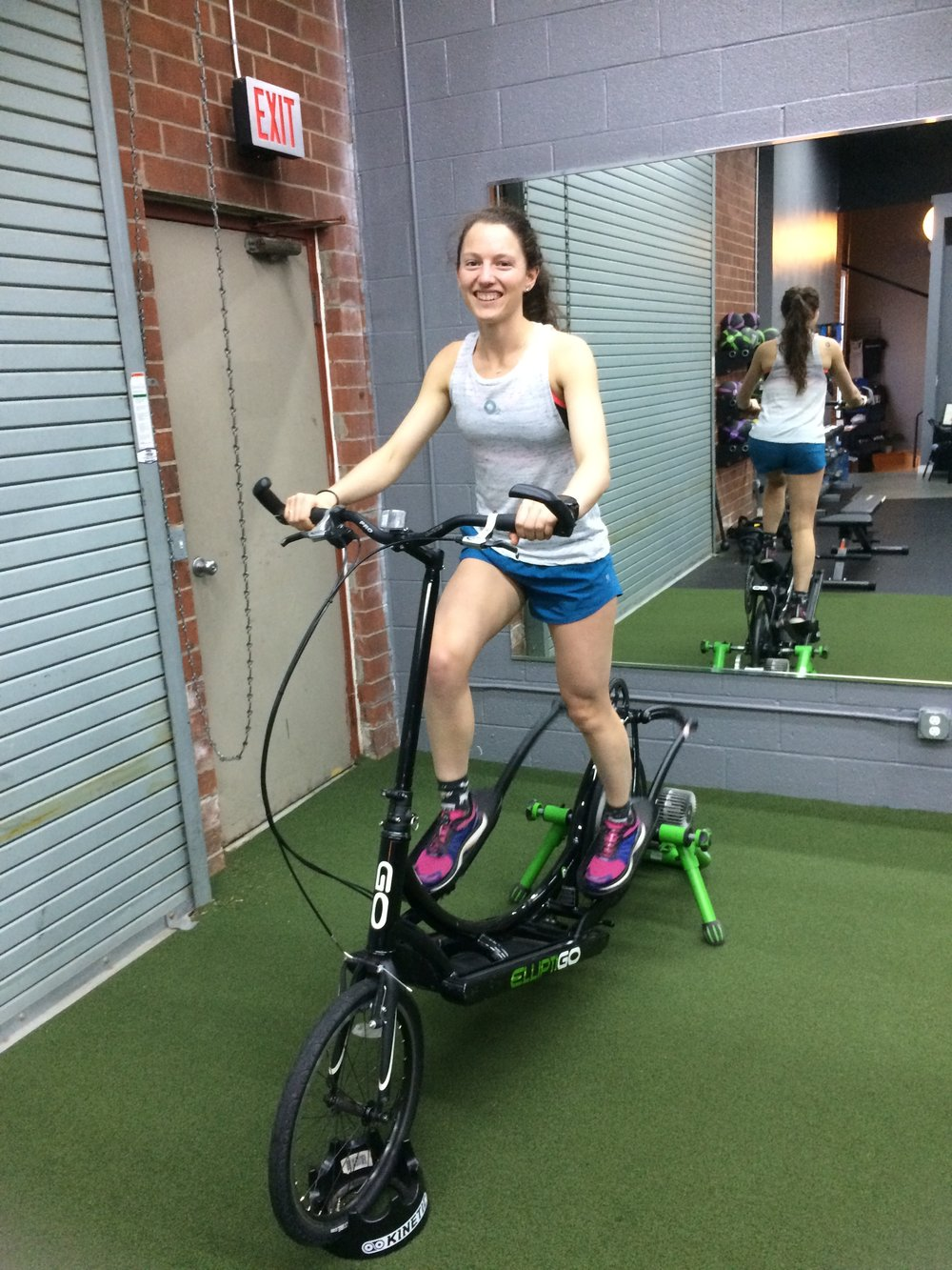 Erin on the ElliptiGO Trainer Post-Boston Marathon!
