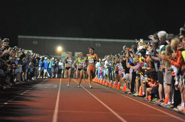 Finish of the women's field at the Sir Walter Miler