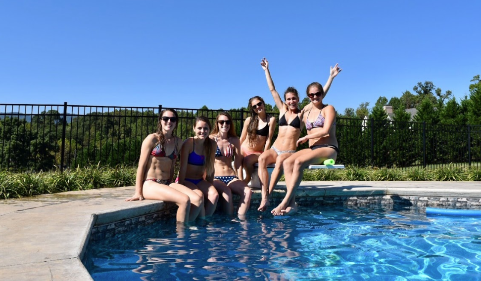 We're good at running, but pool-partying is a close second…