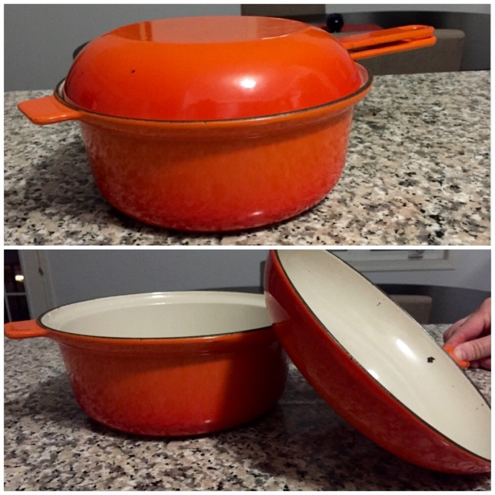 Le Creuset - Le Creuset. A hand-me-down from our mother-in-law/ grandmother. This is only one of the 20 pieces of vintage Le Creuset we own, but because it is so small and doubles as a covered pot and small frying pan, it is the most important. When glamping you need to stick to the necessities and the brands you trust. This Le Creuset pot/pan is perfect, it is likely as old as the van but just as durable.