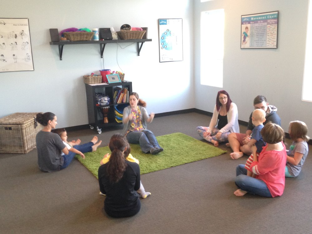 """18 Months to 3 Years - Sprouts encourages toddlers to be creative, to initiate their own ideas and to respond in their own ways, while the parents' active participation gives the toddlers the security they need. Children uncover an engaging musical world while building confidence, self- control, and communications skills (including an emphasis on sign language). Singing, imitating sounds, rhyming, and object identification foster language skills, while creative movement to various musical """"moods"""" develops a sense of balance, timing, and spatial awareness. Listening and turn-taking encourage blossoming social skills. Sprouts is a unique opportunity for parent and child to interact and learn together in an unhurried and joyful manner."""