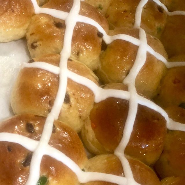Come and get 'me while they're hot! Hot cross buns are scrumptious and now available at the bakery! Stop in soon or call ahead and order some of these delicious buns! 👉🏻856-589-1324