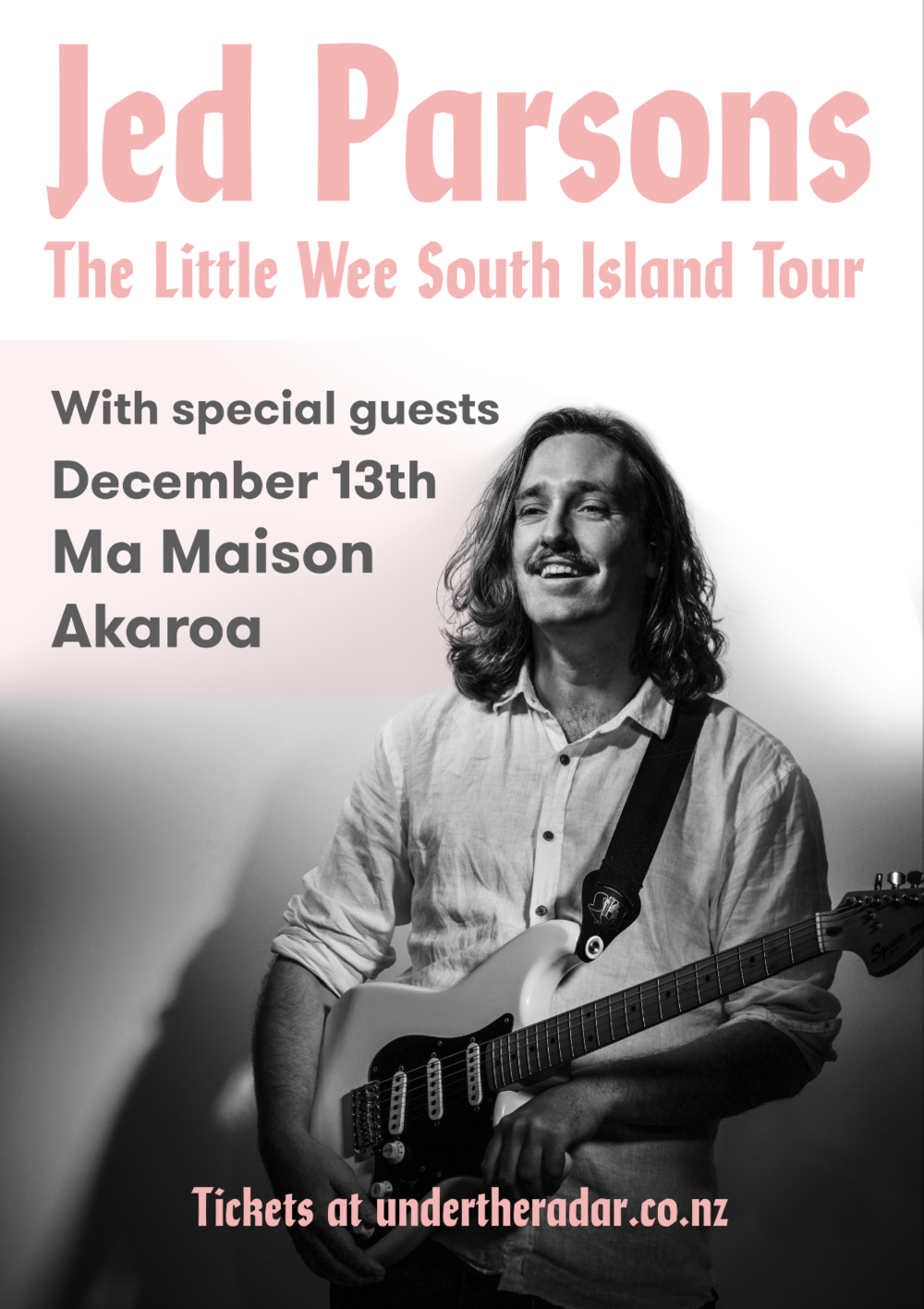 The Little Wee South Island Tour arrives in Akaroa! With special guests.  Following the release of his critically acclaimed debut album 'Midnight Feast' Jed Parsons hits the road for his final outing of 2018, visiting only his favourite parts of the South Island.   This year has been eventful for Parsons. He's toured up and down the country multiple times, hitting stages including those of Auckland City Limits Festival and Nostalgia Festival. Parsons' singles 'Get Lost', 'Everybody's Stupid' and 'Time' were picked up by radio and lead to the release of his debut album 'Midnight Feast'. The album received a 4.5 star review in the Sunday Star Times, amongst other accolades.  Parsons will play songs from Midnight Feast and more on his intimate solo tour, telling stories and bad jokes along the way.