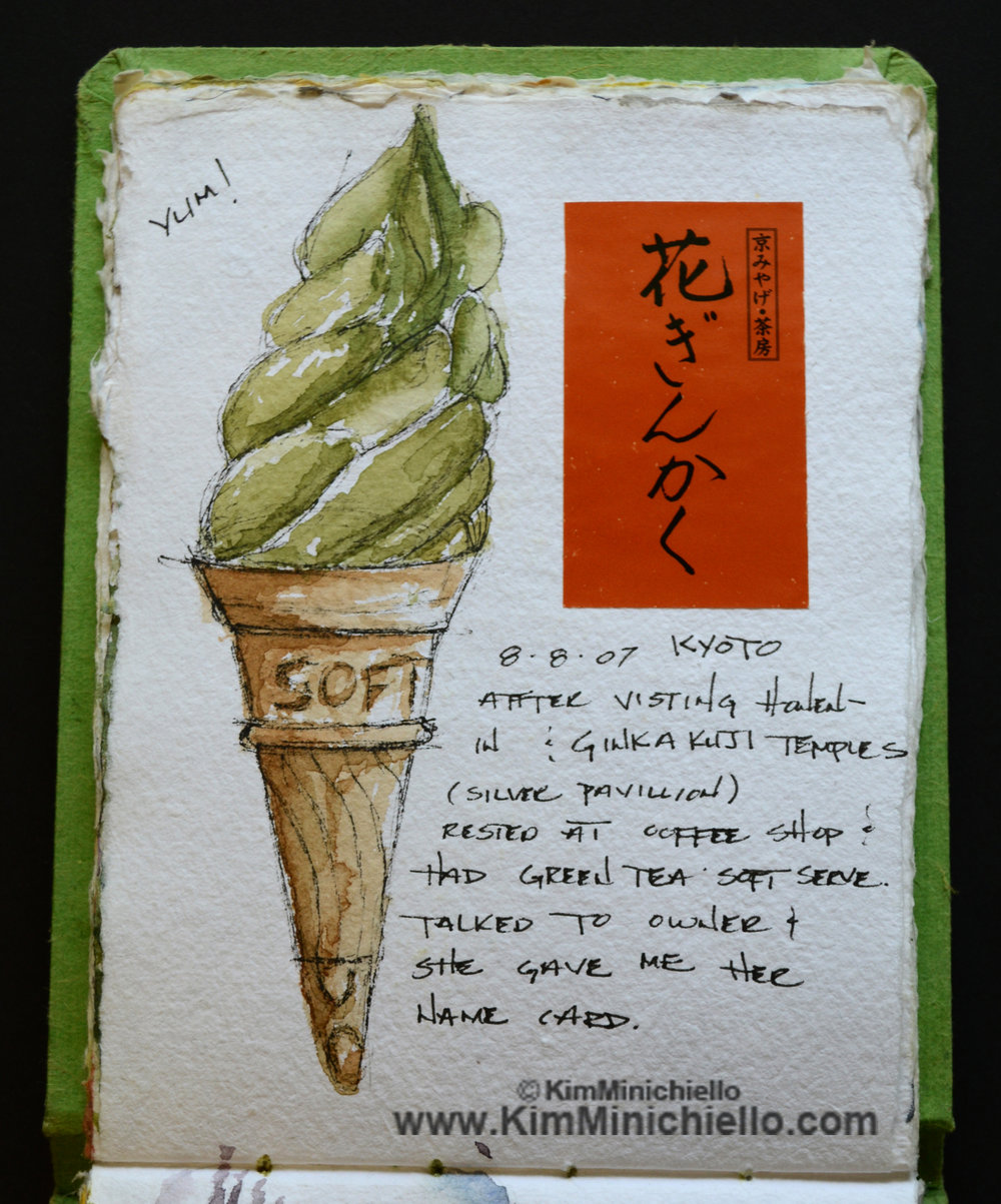 Watercolor Sketch, Kyoto Japan, Green Tea Soft Serve Ice Cream