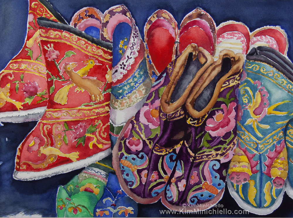 """Chinese Shoes, Watercolor on Archival Paper, 15"""" x 11"""", 38 cm x 28 cm"""