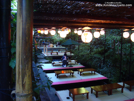 Restaurant platforms above the Kibune River-Kawadoko