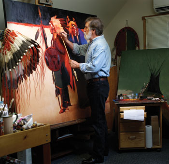 Tom at his easel (image via Tom Gilleon's web site)