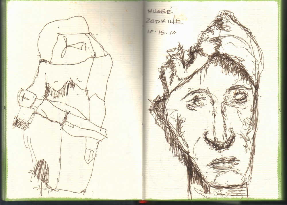 Quick Pen and Ink Sketches of Zadkine Sulptures