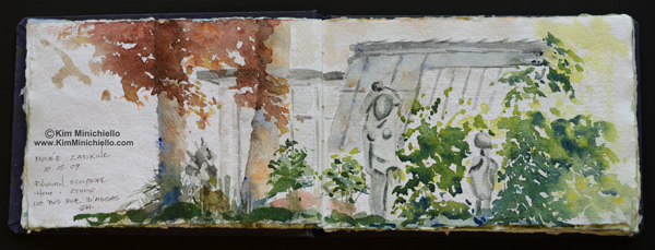 Watercolor Sketch on Handmade Paper in the Zadkine Garden
