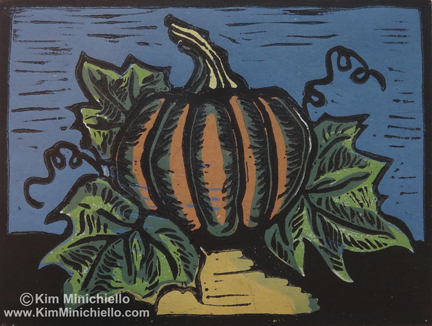 Pumpkin, Wood Block Print