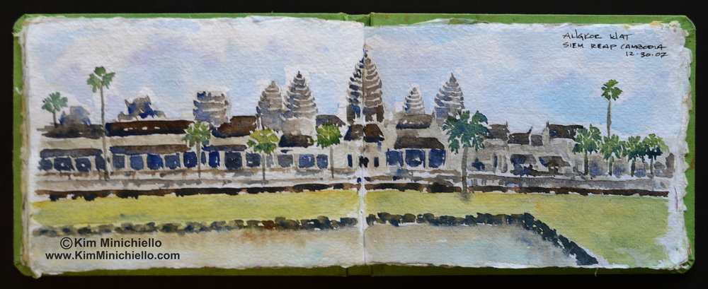 Angkor Wat, Siem Reap, Cambodia, Watercolor Sketch