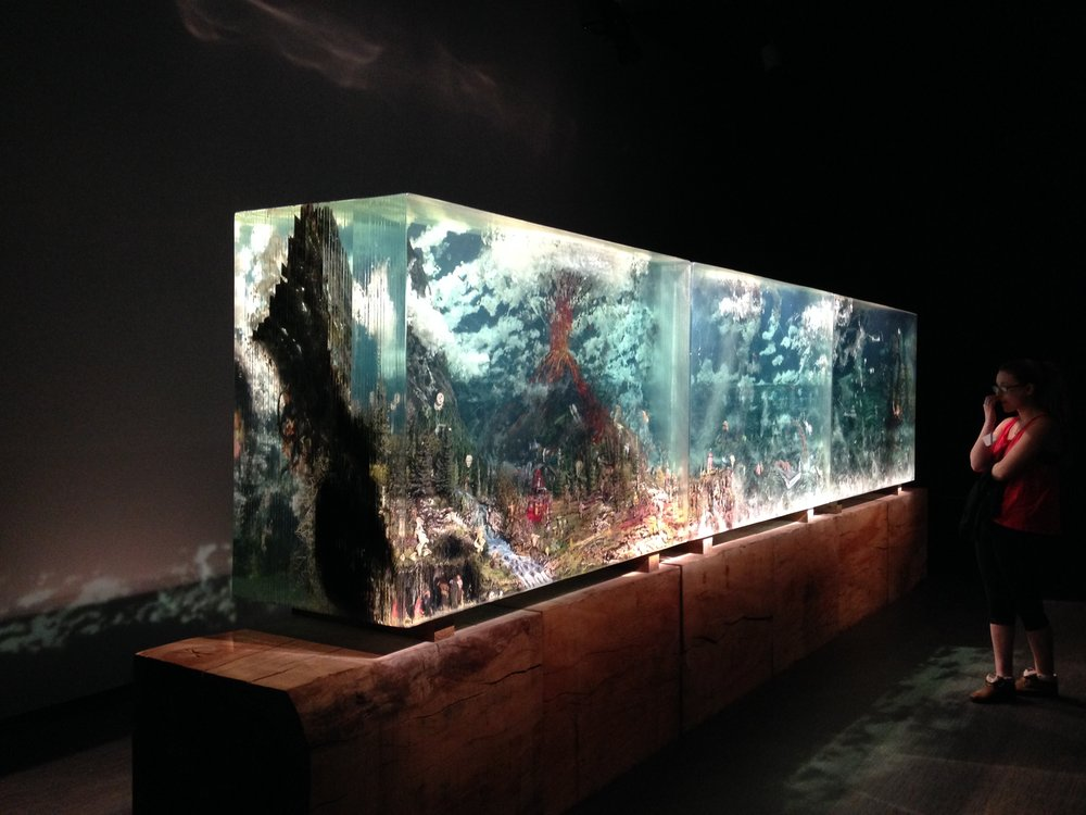"The Triptych by Dustin Yellin, 2012, glass, acrylic, collage,  46.5"" x 208"" x 27"""