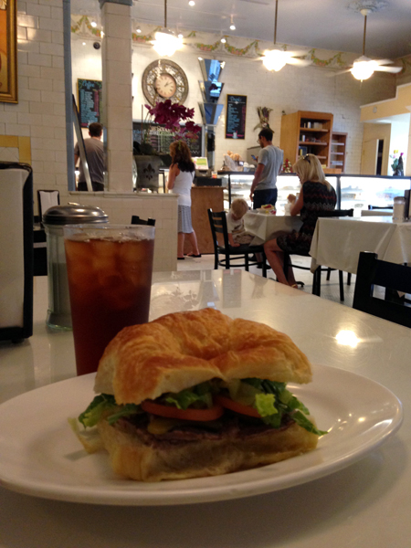 Nothing better than this either, a paté sandwich and a glass of iced tea  at  Le Croissant d'Or Bakery