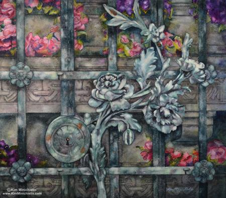 Paris Passy Gate, Watercolor on Twinrocker Rough