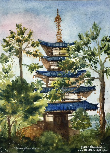 "Japan Pagoda, Watercolor, 11"" x 15"", on Handmade Paper"