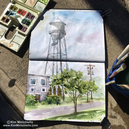 The Old Water Tower, in Stillman & Birn Alpha Series Sketchbook