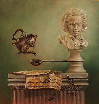 "Debra Kierce's Painting ""Rollover Beethoven"" SOLD at the Randy Higbee ""Six Inch Squared Show, which Carrie, Maria and I are also in."