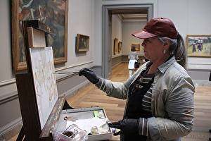Maria Bennett Hock Painting at the National Gallery as Part of Their Copyist Program