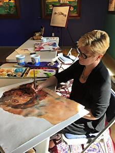 "Me Working on My Current Painting at the Mennello Museum of American Art, Orlando, Florida, in Conjunction with the Mary Whyte Exhibition, ""A Portrait of Us"""