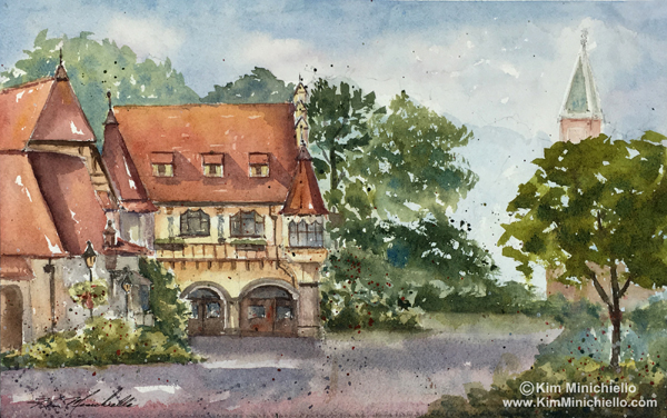 """Germany View,"" Watercolor,  Plein Air, 12.25"" x 7.75"""