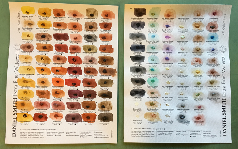 The Daniel Smith 238 Dot Color Chart for their Extra Fine Watercolors