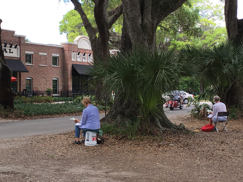 Some of my students sketching at Plant Street Market, Winter Garden, FL