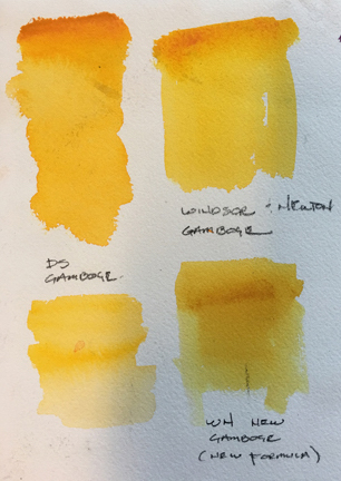 It may be hard to tell the color differences from this photo, these are the different New Gamboge samples.