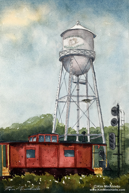 """End of The Line,"" watercolor done plein air, 8"" x 12"""