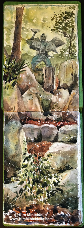 Japan Cascade, Watercolor Sketch in Khadi Paper Sketchbook, 18 x 9