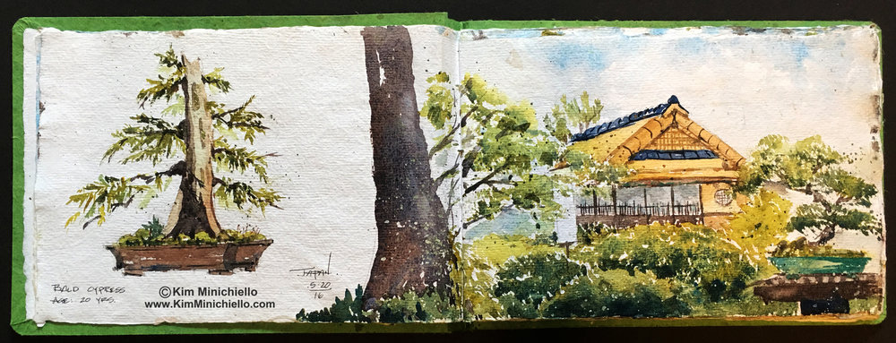 Watercolor Sketch on Handmade Khadi Paper, 18 x 9, Japan Pavilion, Epcot