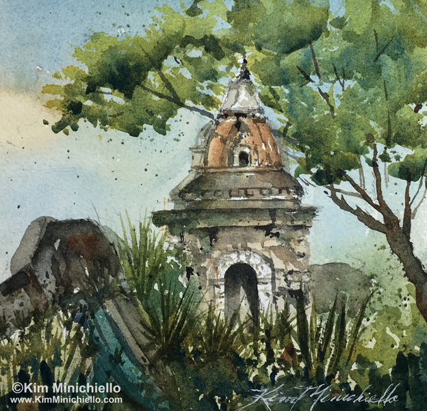 Nepali Temple, Watercolor Mounted on Board and Sealed, 6 x 6, $295 available at the show
