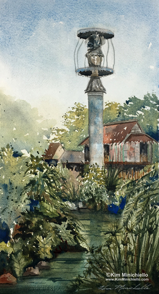 "Siamang Retreat, Watercolor, 14"" x 7.5,"" Plein Air"