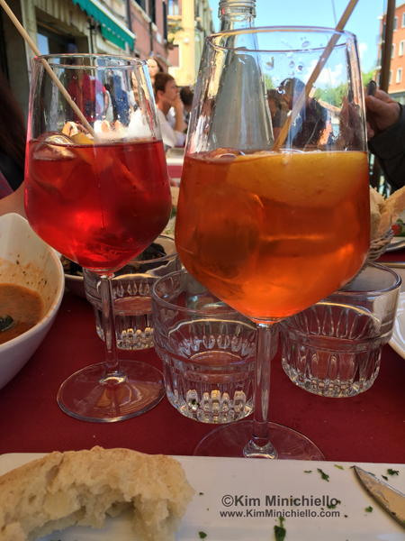 Venetian Spritzs, Campari Spritz on the left & the Aperol Spritz on the right