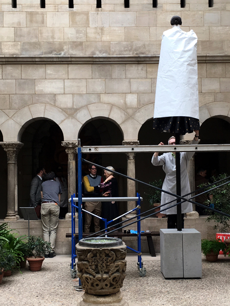 Installation in progress of Heavenly Bodies: Fasion and the Catholic Imagination at The Met Cloisters