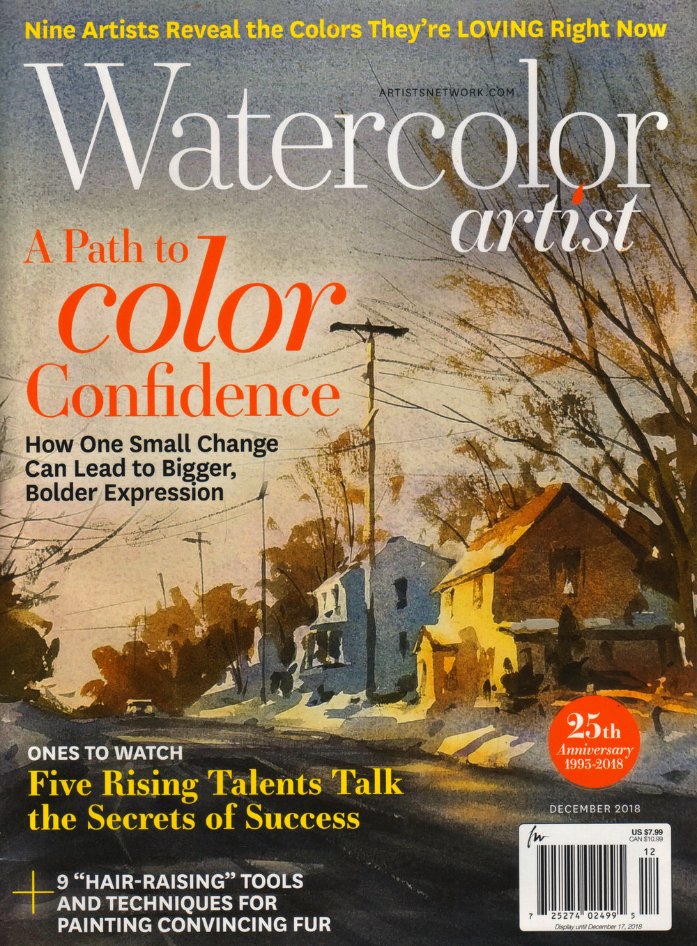 "Watercolor Artist Magazine, December 2018, ""Ones to Watch"" Feature Article - Click here to read article."