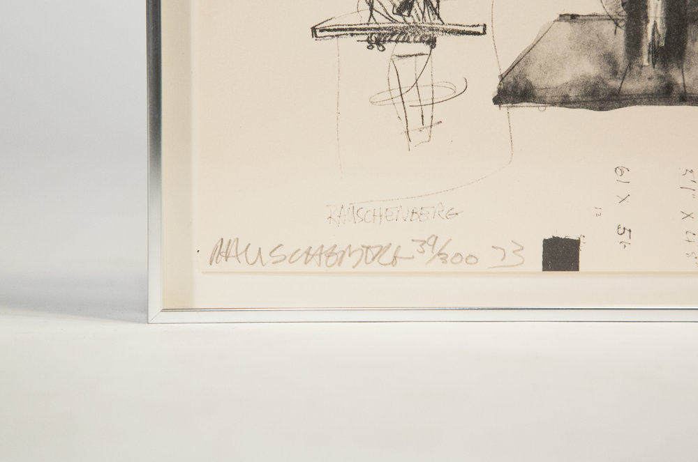 The piece is signed by rauschenberg.
