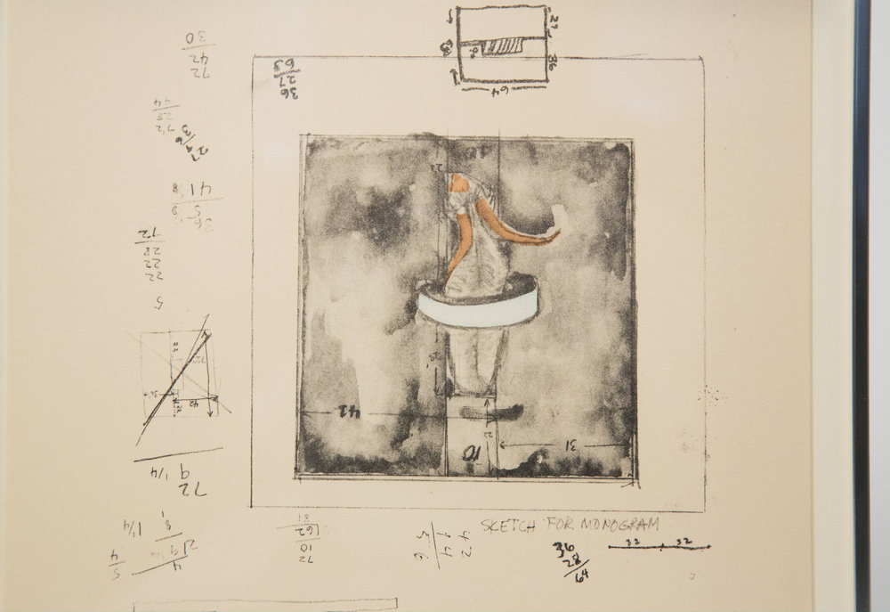 A drawing of his famous Monogram sculpture.