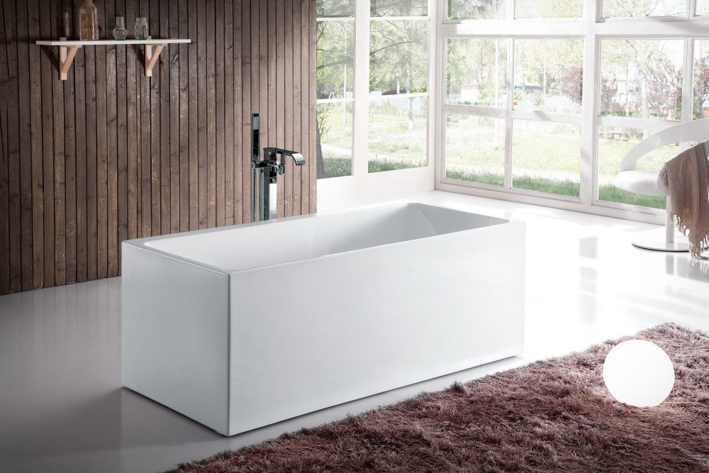 Bali Acrylic Freestanding Rectangular Infusion™ Microbubble Therapy Bathtub