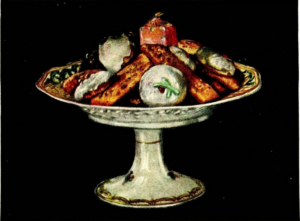 """Cinnamon and Nut Fingers, Little Iced Sponge Cakes, Nut Drop Cookies"" from Mrs. Ida Bailey Allen's Woman's World Calendar Cookbook (1922)"