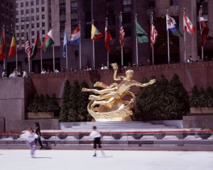 "Highsmith, Carol M. 1980. ""The Rink at Rockefeller Center Is a Popular Cold-Weather Attraction. Paul Manship created the Prometheus Statue in 1934. New York, New York."" Still image. Library of Congress."