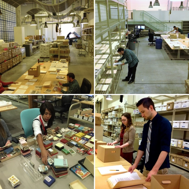 Intern, Lee Hanover, and UNLV History Department graduates and Lied Library Special Collections staff, Lindsay Oden and Hannah Robinson working in the archive. Photo Credit: https://www.library.unlv.edu/blog-tags/technical-services