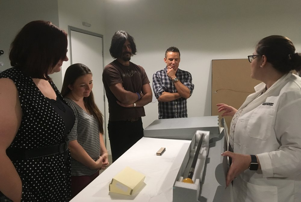 Students in Dr. Joanne Goodwin's History 749 take a behind the scenes tour with the Mob Museum's Curator of Collections, Carolyn Fisher.