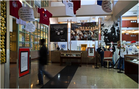 Photo of the exhibit Line in the Sand: The People, Power, and Progress of the Culinary Union in UNLV's Lied Library. Photo by L.E. Baskow published in the Las Vegas Weekly.