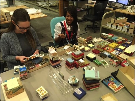 Hannah Robinson and her colleague Hana Gutierrez working on the Harrah's Entertainment Corporate Archives, a collection processed during the NHPRC project grant.