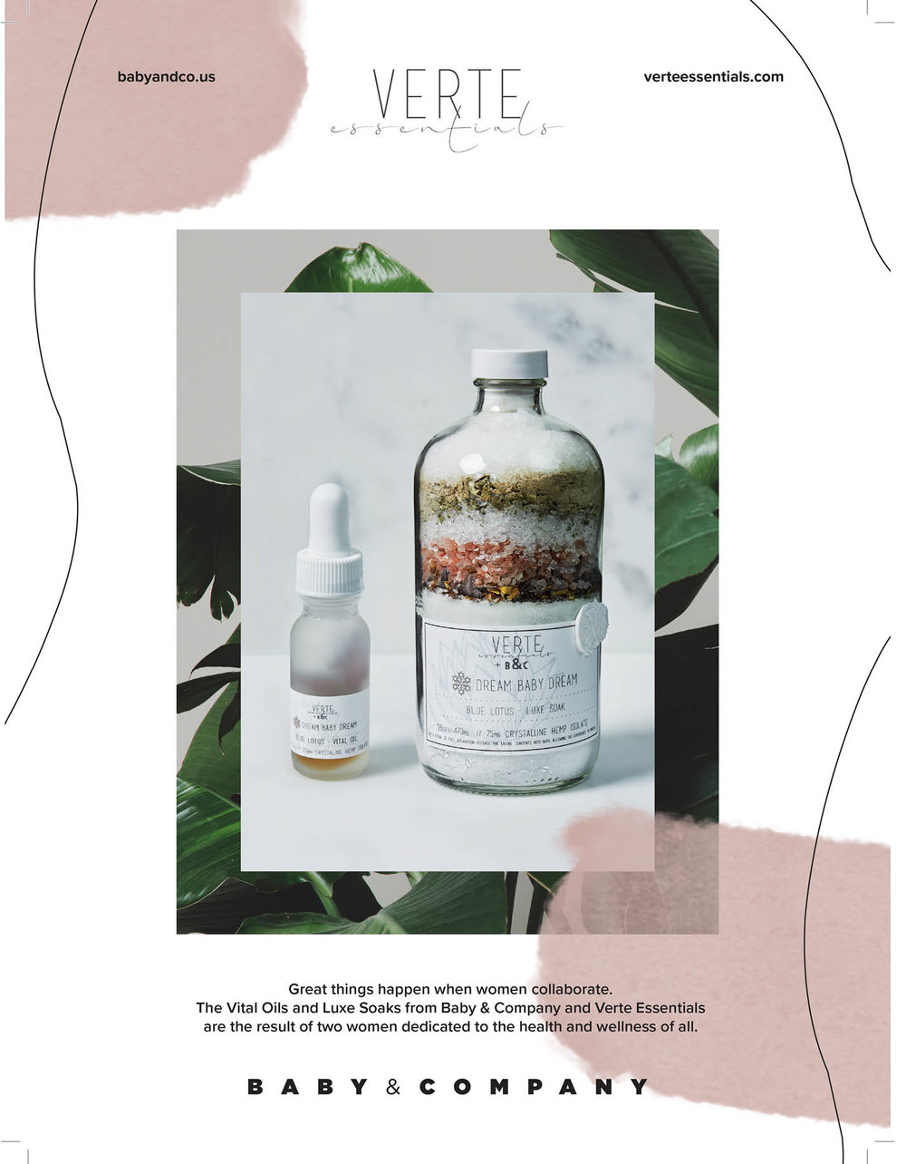 Great Things Happen When Women Collaborate. - The Vital Oils and Luxe Soaks from Baby & Company and Verte Essentials are the result of two women dedicated to the health of wellness of all.