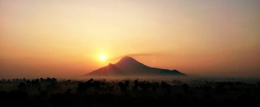 Arunachala Mountain. According to legend, Lord  Shiva  is said to have manifested as a column of light, and then the form of Arunachala.— A. R. Natarajan