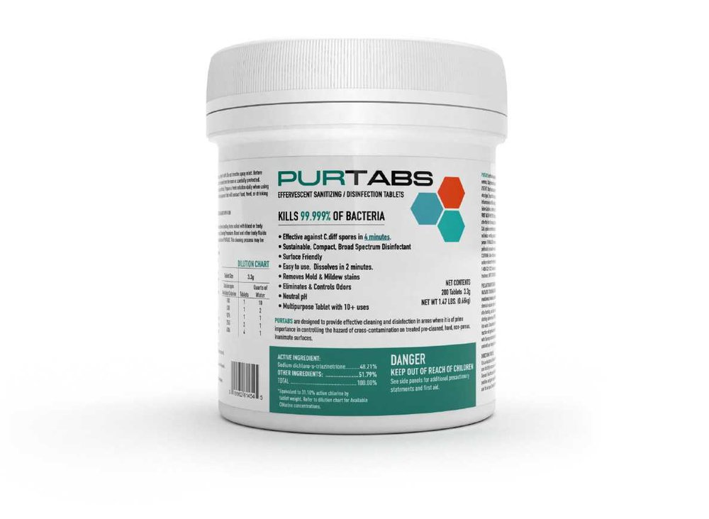 PurTabs 3.3g - Safer than bleach, PURTABS 3.3g are a powerful and versatile disinfecting and sanitizing solution. Drop one tablet into the Protexus Sprayer tank to create a Hospital Grade Disinfectant with up to 800 sq. ft. of coverage area. Dissolve 4 tablets in the sprayer tank for the ability to kill C. diff in 4 minutes. No other product on the market is as versatile, affordable, and efficacious as the PURTABS 3.3g disinfecting and sanitizing tablet.