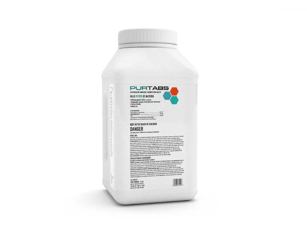 PurTabs 13.1g - Offering the same performance as our 3.3g product, PURTABS 13.1g allow you to mix large batches of solution at a cost comparable to that of even commodity bleach. PURTABS 13.1g offers powerful performance, six different solution concentrations, and is economical and sustainable. These disinfecting and sanitizing tablets eliminate the costly barriers to proactively disinfecting and sanitizing more of your facility than ever before.