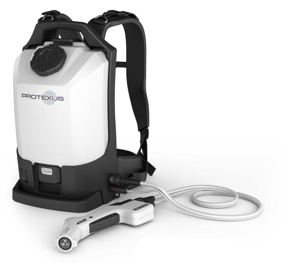 Cordless Electrostatic Backpack Sprayer - Maximize Efficiency with the ability to Disinfect or Sanitize up to 4x greater surface area than  traditional cleaning programs in no additional time.Reduce infection rates through more proactive and comprehensive disinfection procedures. Touchless Disinfection or Sanitization of full rooms in under 3 minutes10,000 sq/ft of coverage per tank 4 Hour continous run time lithium batteryEasy to train, complete system designed around optimal disinfecting and sanitizing chemistries.