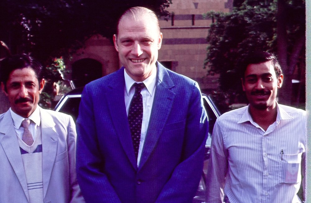 Ambassador Rugh with his Yemeni bodyguard and driver.